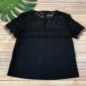 Topshop black lace trim short sleeve top